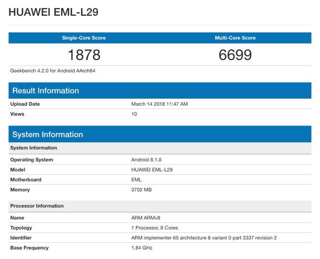 Смартфон Huawei P20 / Geekbench