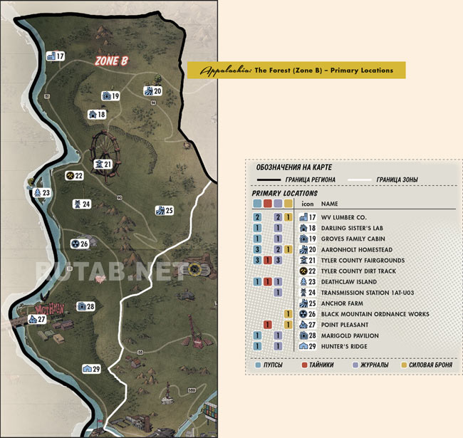 Карта региона Лес | Зона B - Главные локации