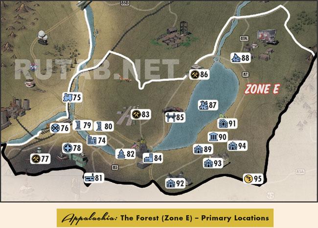 Карта региона Лес | Зона E - Главные локации