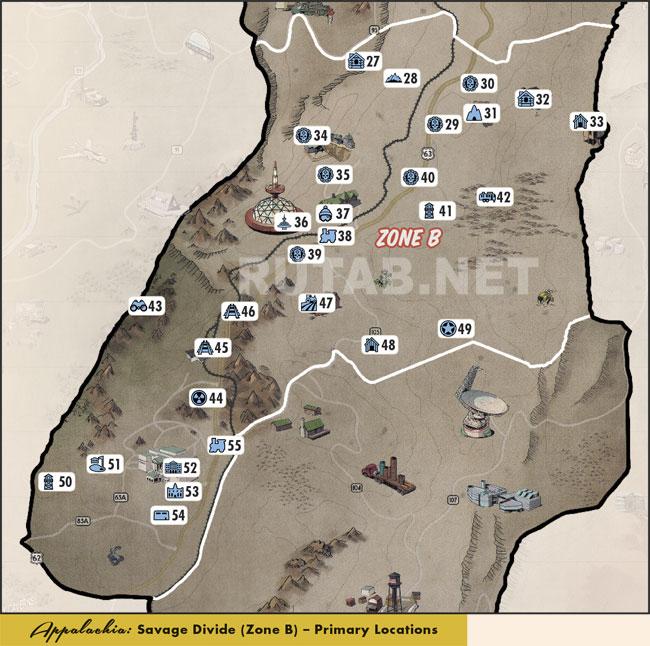 Карта региона Дикий рубеж   Зона B - Главные локации