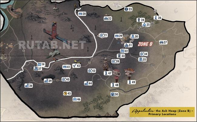Карта региона Шлаковая бездна | Зона B - Главные локации