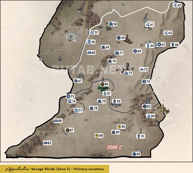 Карта региона Дикий рубеж | Зона C - Главные локации